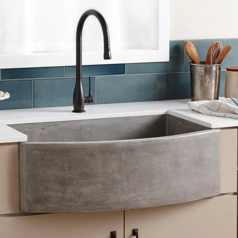 farmhouse quartet 33 inch nativestone curved apron front kitchen sink