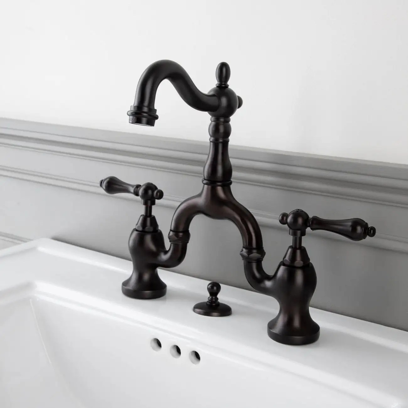 high spout 8 inch bridge lavatory faucet metal lever handles