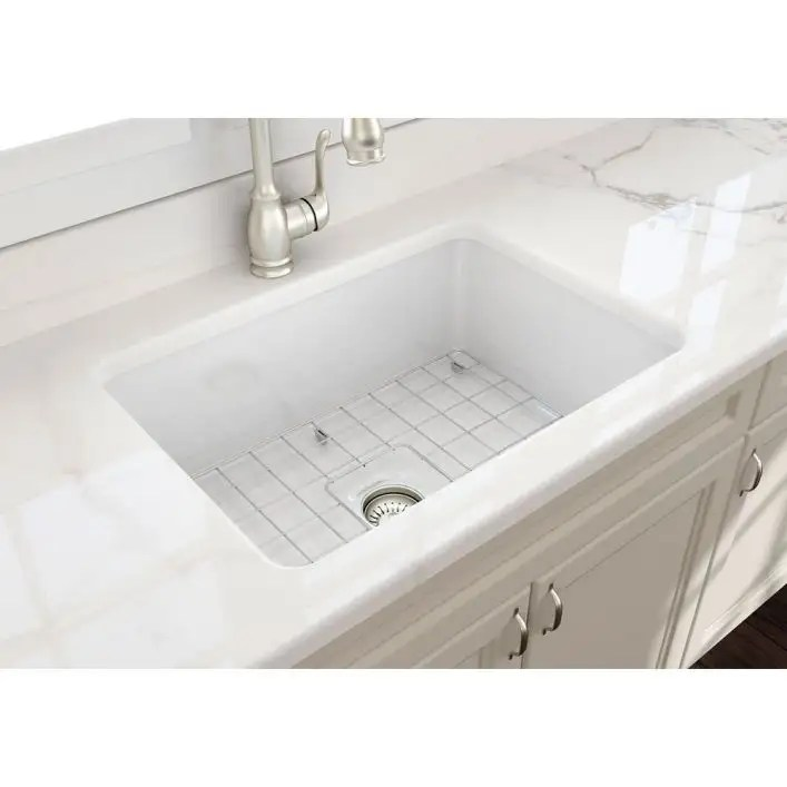 sotto 27 in undermount fireclay single bowl kitchen sink with grid and drain