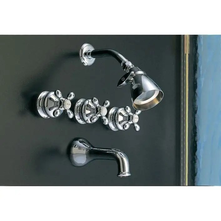 thames three handle tub shower faucet set with metal cross handles