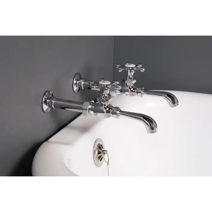 bathroom wall mount clawfoot tub faucet with holder high flow singles