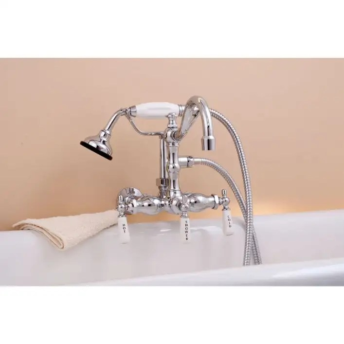 wall mount tub faucet with handshower 3 3 8 inch centers