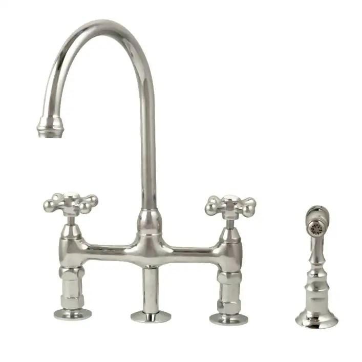 gooseneck bridge style kitchen faucet