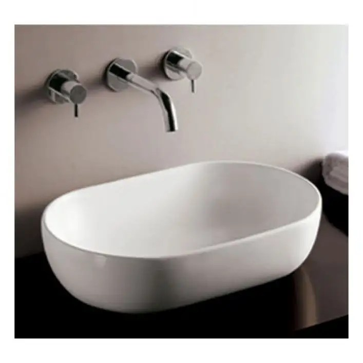 isabella collection oval vessel sink no overflow white
