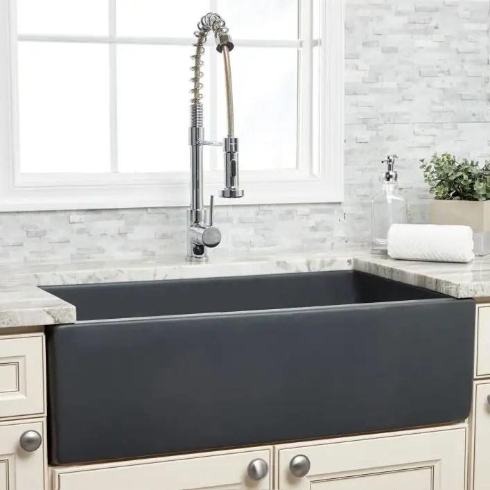 33 inch plain front fireclay reversible apron farmhouse sink matte dark gray
