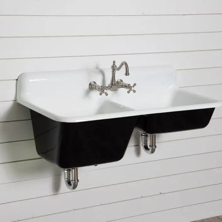 47 inch cast iron high back double bowl farmhouse kitchen sink