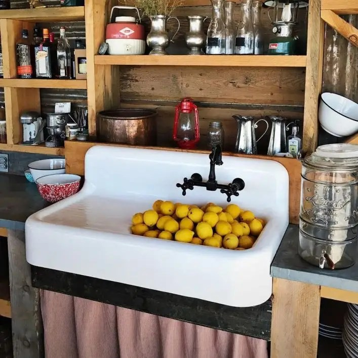 cora 42 inch cast iron farmhouse drainboard sink 8 inch faucet drillings white