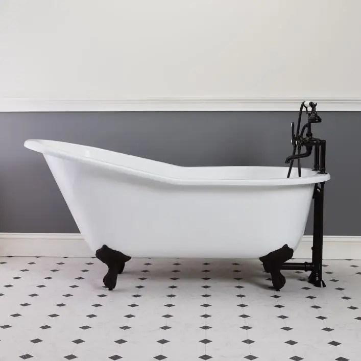 mila cast iron slipper clawfoot tub rim faucet drillings