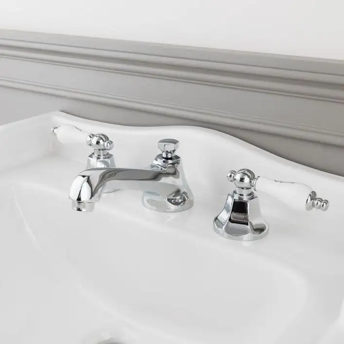 deco widespread bathroom sink faucet porcelain lever handles