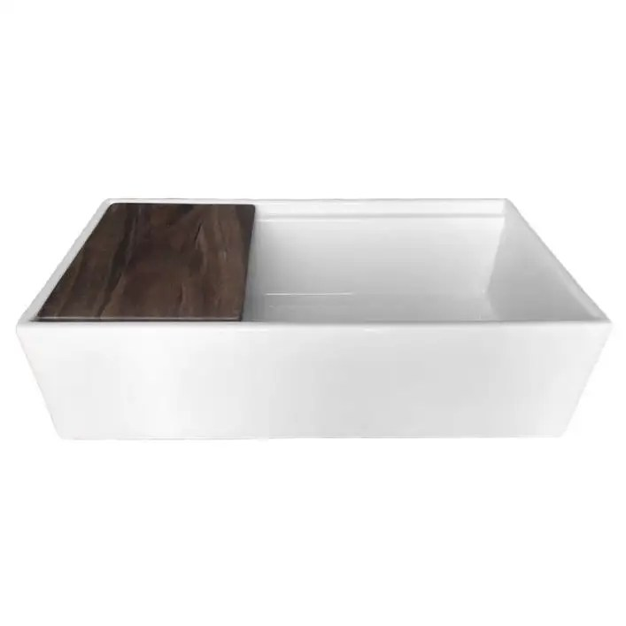 36 inch fireclay kitchen sink with cutting board white