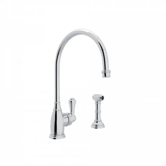 perrin rowe single lever hole kitchen faucet with sidespray