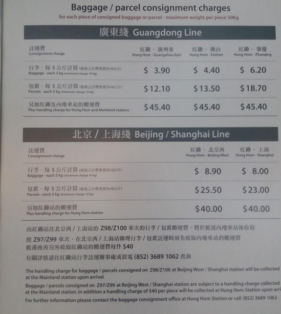 Checked-in luggage charges on trains from Hong Kong