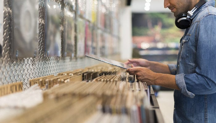 Crate Digging In Record Store