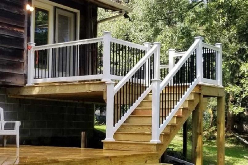 Vinyl Railings Vinyl Deck Railing Stair Railing Porch   Vinyl Railing For Steps   Plastic   Leadvision   Exterior   2 Step   Front Door