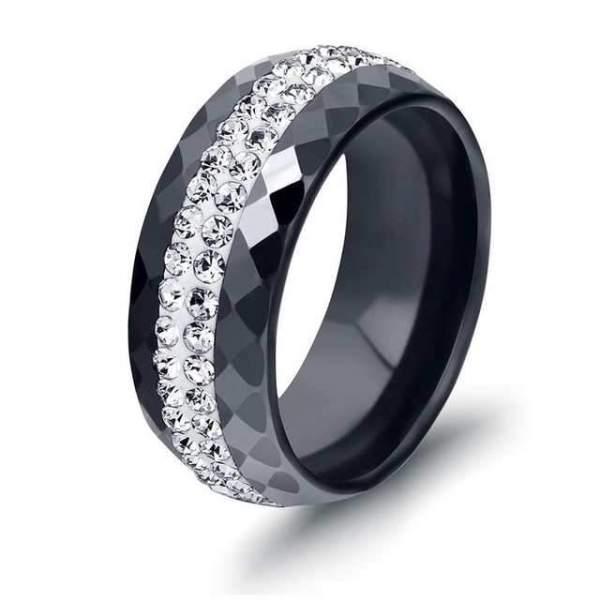 Kristály köves nemesacél kerámia gyűrű
