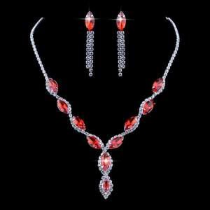 kristály köves alkalmi menyasszonyi piros bizsu nyaklánc
