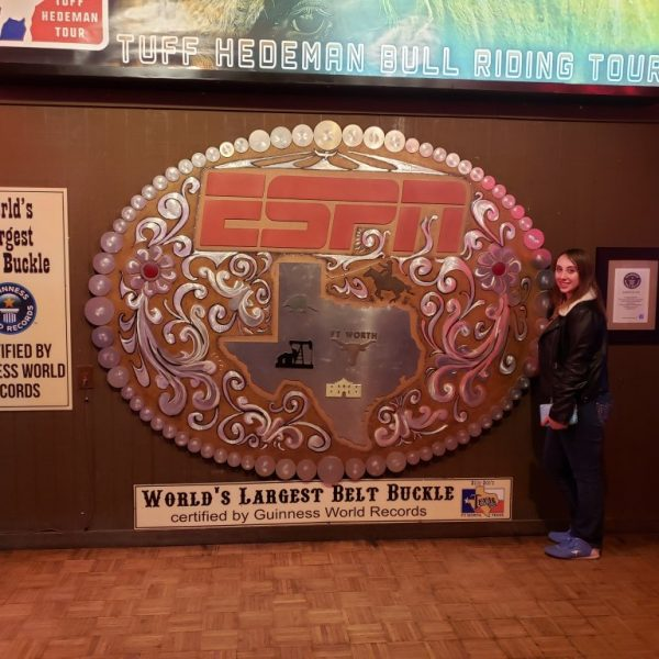Violet Sky with the World's Largest Belt Buckle at Billy Bob's Texas, Fort Worth, Texas