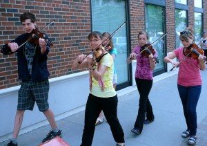Deborah and her teen fiddlers' group enjoyed a morning of performing at the Cobourg Buskers' Festival