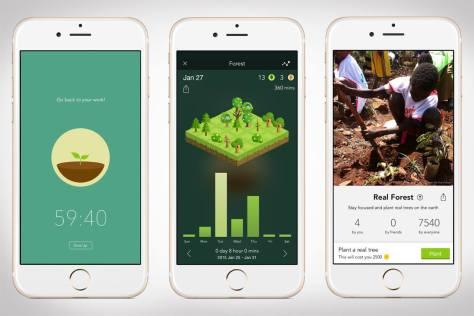 A forest app felületei okostelefonon