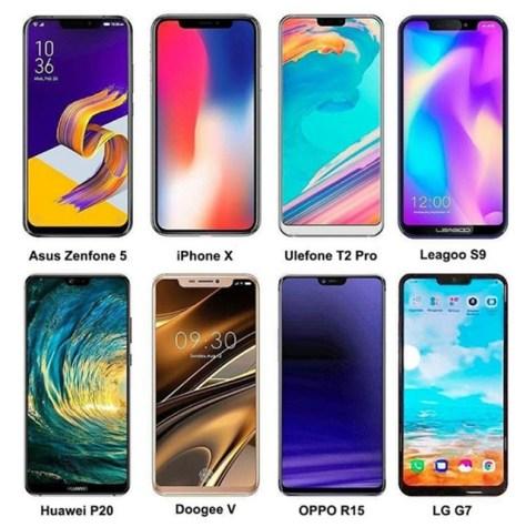 Íme különféle méretű notch-ok (bevágások, bemetszések) más típusú okostelefonok felső részén (forrás: Android Headlines)