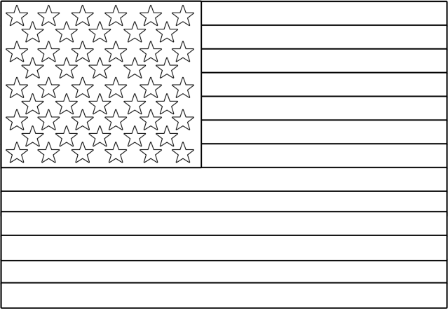 white american flag png - American Flag Coloring Page Free