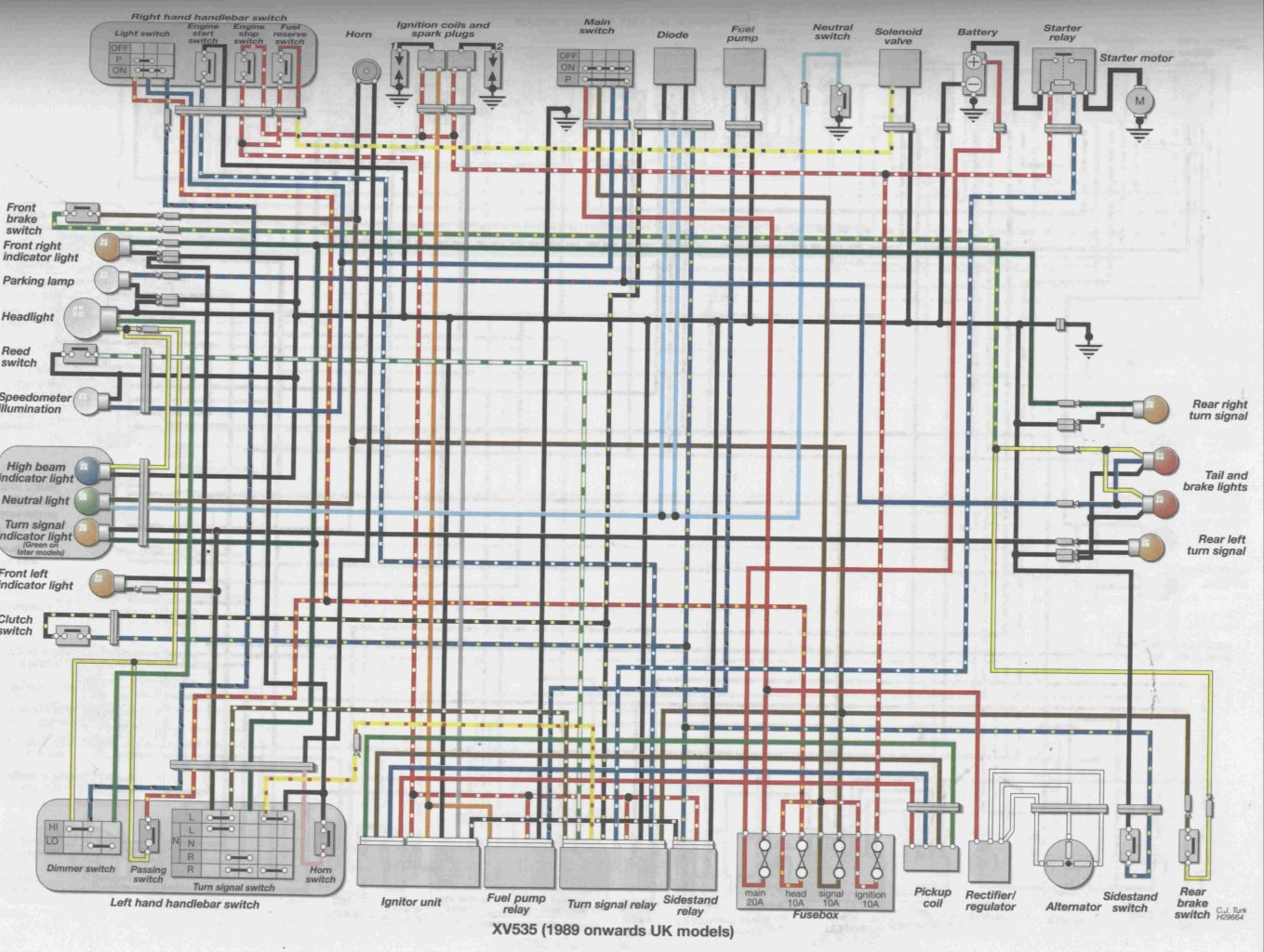 here's a link to a suitable wiring diagram that may help you (courtesy of  virago tech com):