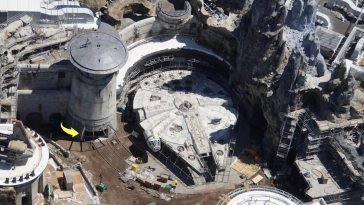 Aerial view showing scaffolding around Millennium Falcon. Note also a roof at a nearby doorway. In Star Wars Galaxy's Edge photo by @bioreconstruct Twitter