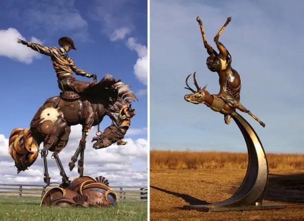 Esculturas de metal ginete