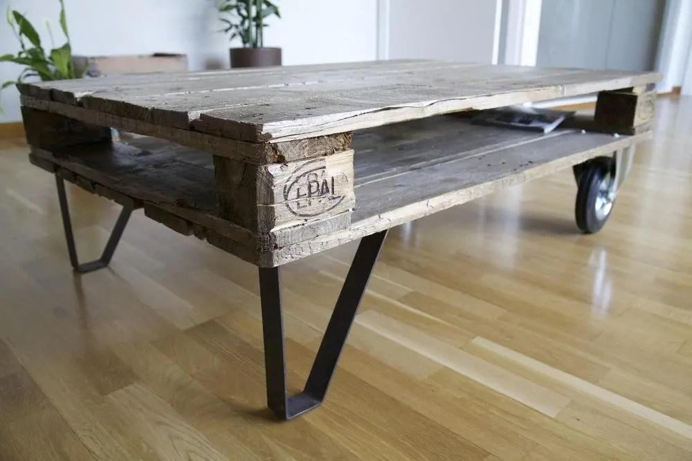 Mesas pales awesome diy una mesa libreria de centro con - Mesas palets madera ...