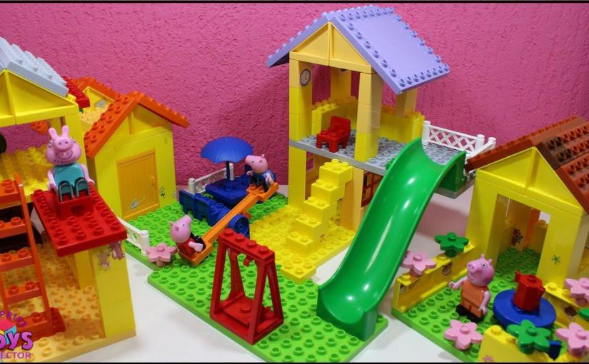 Let S Make Mega Bloks House For Peppa Pig George Daddy Pig And Mommy Pig Toys Videos For Kids