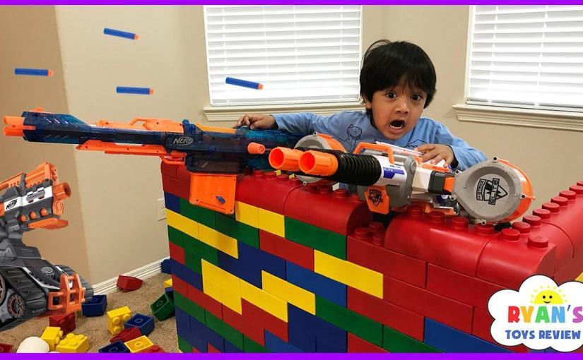 Big Fun Toys For Boys : Nerf gun war kid vs daddy protect the fort family fun