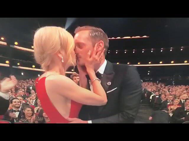 Alexander Skarsgard congratulated by Laura Dern & Nicole Kidman following Emmy win 2017