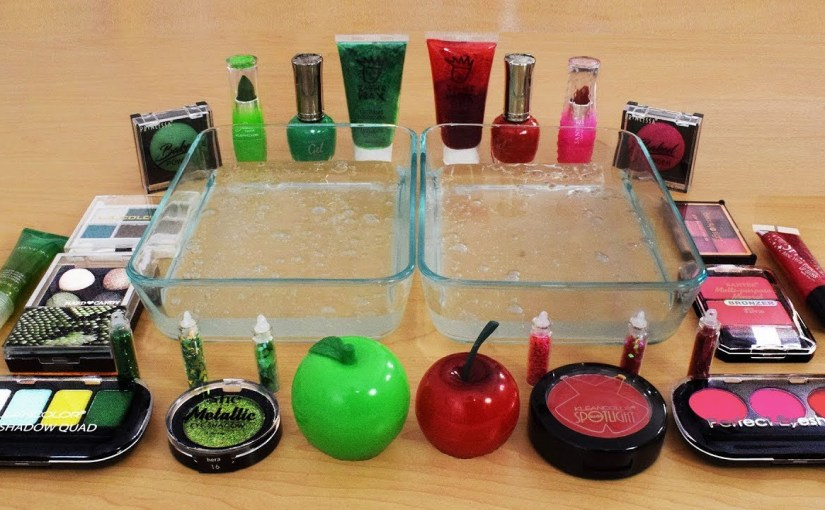 Mixing Makeup Eyeshadow Into Slime Red Vs Green Special Series