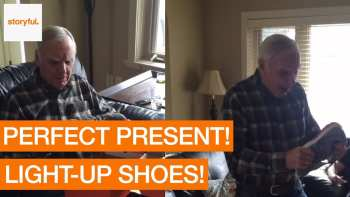 Dad is Ecstatic About his new Light-Up Sneakers