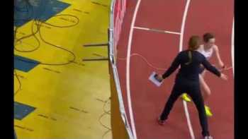 Official Tries To Stop Winner Doing Her Lap Of Honour