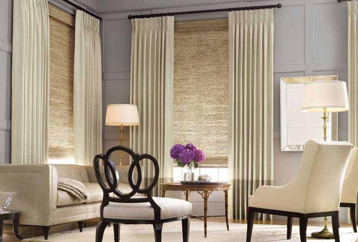 roman roller shades curtains combination