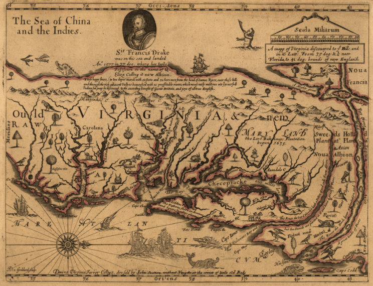 Mapping Virginia John Farrer s 1667 map  showing presumed location of Pacific Ocean just  west of the Blue