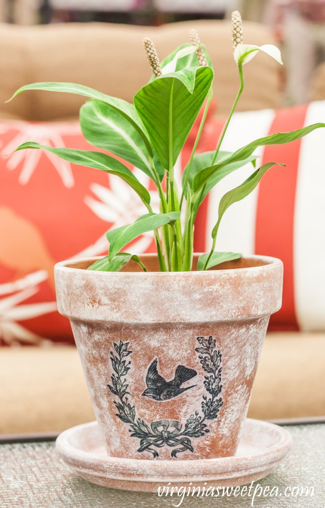 DIY Aged and Embellished Flower Pots - Learn how to make a flower pot look aged and also how to transfer and image to the pot to make it unique.