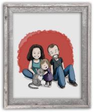 Portrait dessin famille cadre cadeau fête des mères