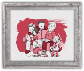 Portrait dessin famille cadre cadeau grands-parents