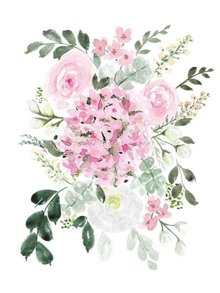 Peinture à l'aquarelle d'un bouquet floral rose et blanc réalisé par l'artiste peintre Virginie Brassart