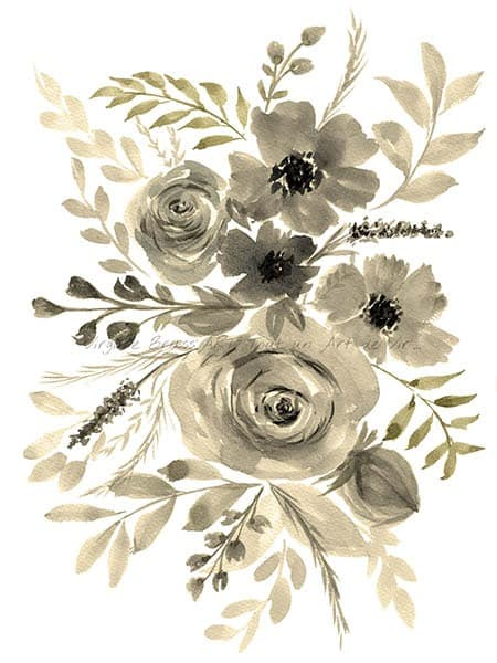 Peinture à l'aquarelle d'un bouquet floral monochrome tons gris réalisé par l'artiste peintre Virginie Brassart