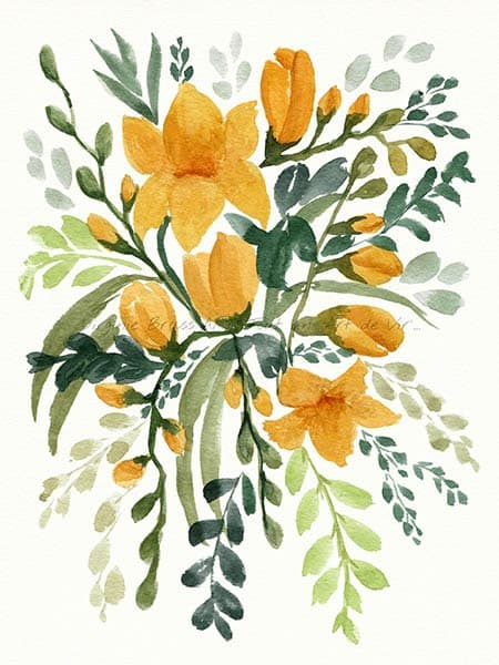 Peinture à l'aquarelle d'un bouquet floral de freesias jaunes et feuillage réalisé par l'artiste peintre Virginie Brassart