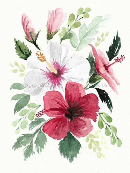 Peinture à l'aquarelle d'un bouquet floral d'hibiscus rouges et blancs et feuillage réalisé par l'artiste peintre Virginie Brassart