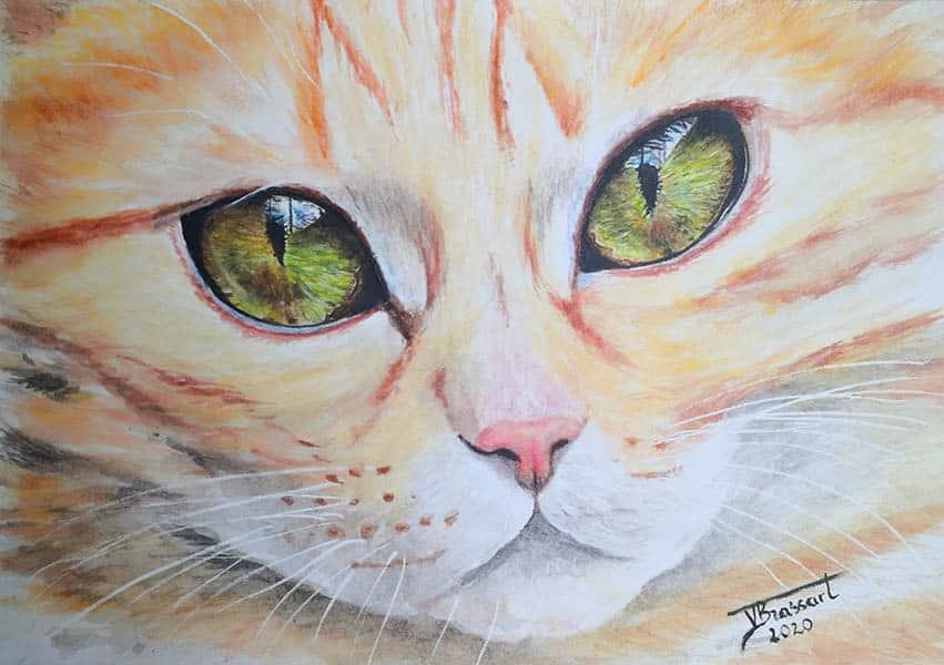Peinture à l'aquarelle d'un regard vert de chat roux tigré réalisé par l'artiste peintre Virginie Brassart