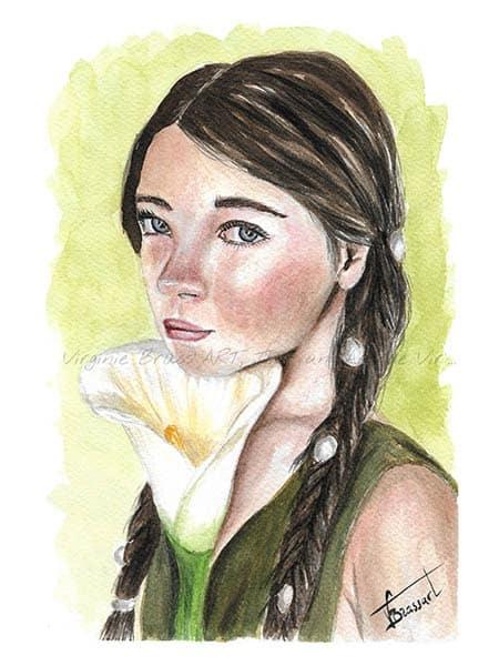 Portrait à l'aquarelle d'une jeune fille brune ave une tresse et tenant un arum blanc sous son visage réalisé par l'artiste peintre Virginie Brassart