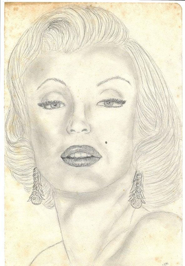 Dessin de Marilyn Monroe aux crayons graphites