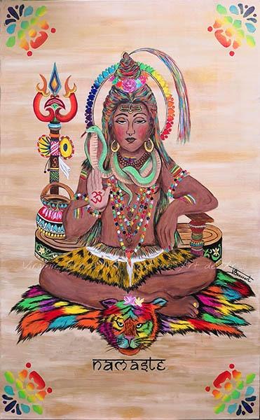 Tableau acrylique d'une divinité boudhiste multicolore réalisé par l'artiste peintre et portraitiste animalière Virginie Brassart