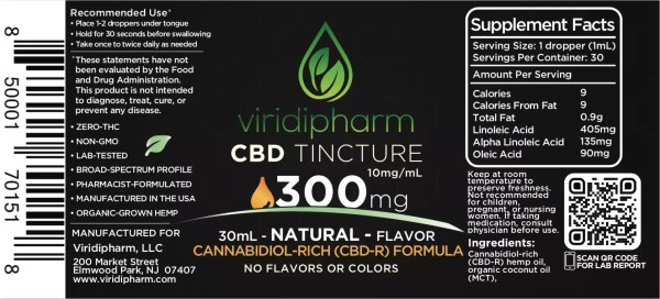 Natural 300mg CBD Oil Tincture