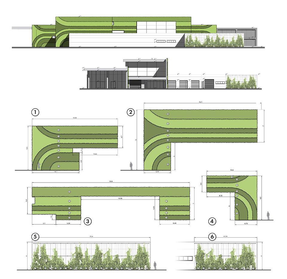 Шоурум и автосервиз на BMW и MINI - Детайли на зелени стени